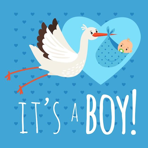 Ooievaar met babyjongen. vliegende ooievaar met pasgeboren peuter vectorillustratie voor felicitatie kaart en verjaardag aankondiging Premium Vector