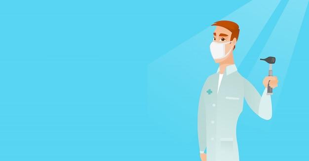 Oor neus keel dokter vectorillustratie. Premium Vector