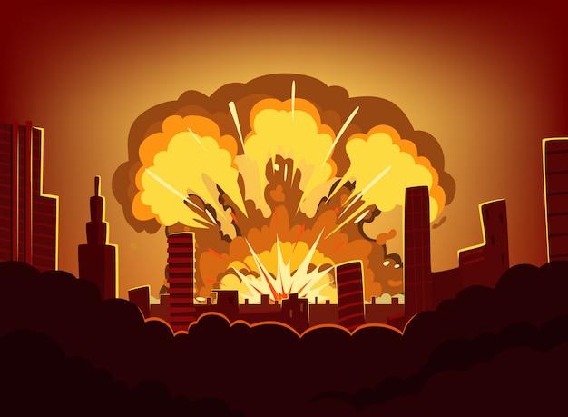 Oorlog en schade na een grote explosie in de stad. zwart-wit stedelijk landschap met brandwondhemel na atoombom. nucleaire radioactieve armageddon, vectorillustratie Premium Vector