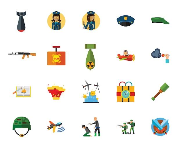 Oorlog en terreur creatieve pictogramserie Gratis Vector