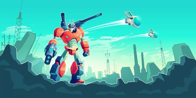 Oorlog met buitenaardse robots cartoon concept Gratis Vector