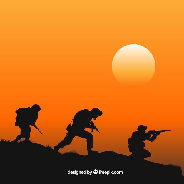 Oorlogsachtergrond met silhouetten van militairen Premium Vector