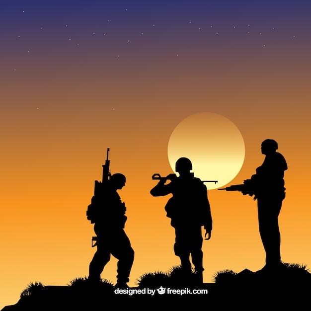 Oorlogsachtergrond met silhouetten van militairen Gratis Vector
