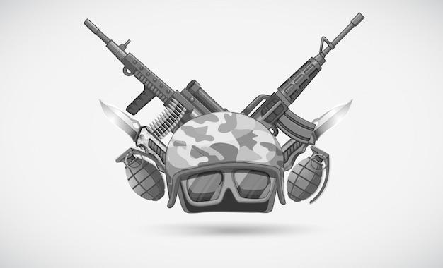 Oorlogsthema met helm en wapens Gratis Vector
