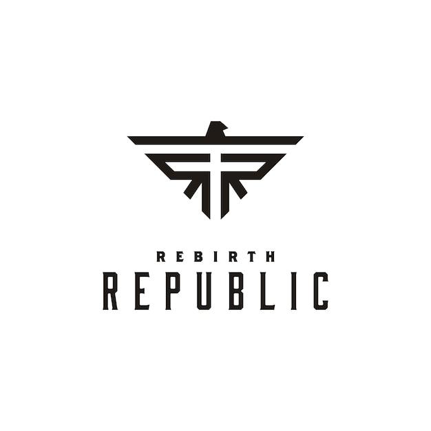 Oorspronkelijk logo-ontwerp voor rr en eagle Premium Vector