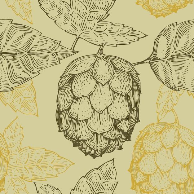 Oorspronkelijke vintage retro lijn naadloze vector patroon voor bierhuis, bar, pub, brouwerij, brouwerij, taverne, taproom, alehouse, beerhouse, dramshop restaurant Premium Vector