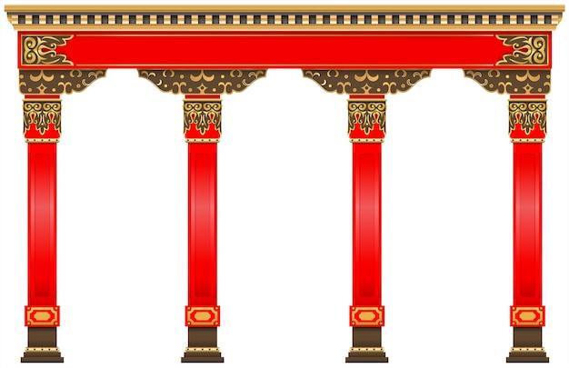 Oost-chinese boog. gesneden rood gouden kolommen Premium Vector