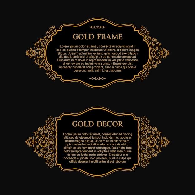 Oost-gouden design frame voor kaart Premium Vector