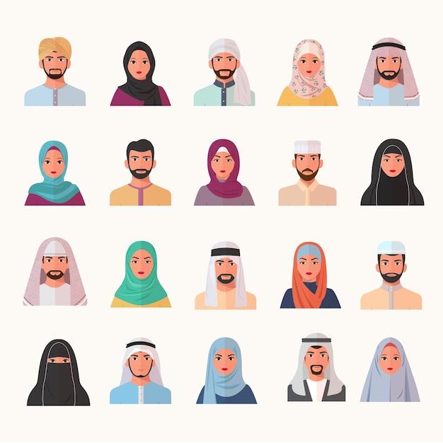 Oost-moslim karakters avatars ingesteld. lachende arabische gezichten van mannen vrouwen in chador en boerka trendy gekleurde traditionele hijaabs Premium Vector