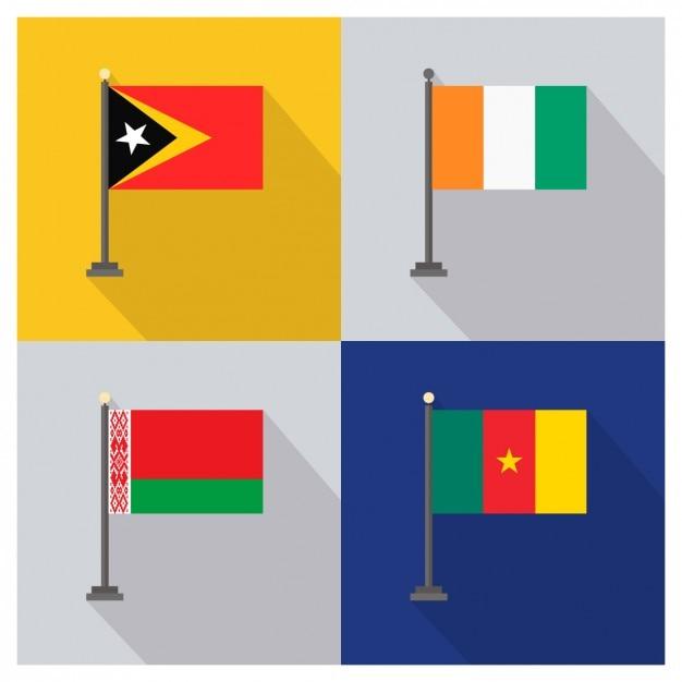 Oost-timor ivoorkust belarus kameroen vlaggen Gratis Vector
