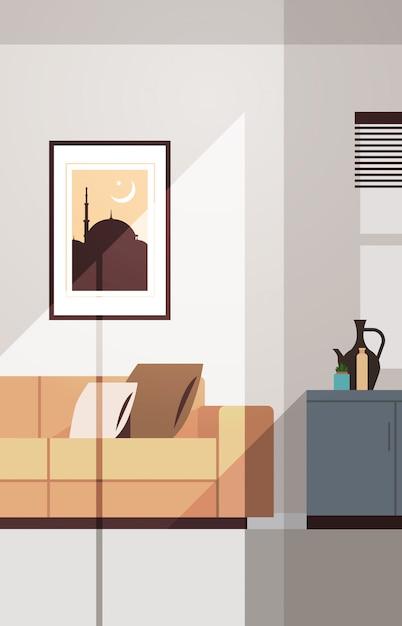 Oost-traditionele woonkamer interieur met meubels en foto op de muur ramadan kareem moslim religie heilige maand plat verticaal Premium Vector