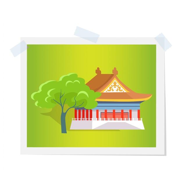 Oosters huis of theater in de buurt van green tree image Premium Vector