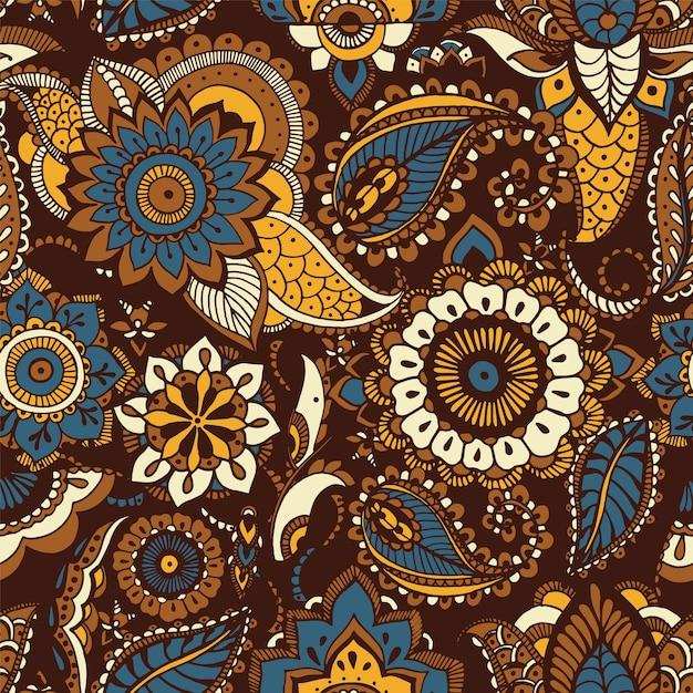 Oosters naadloos patroon met etnische butamotieven en perzische bloemenmehndi-elementen op bruine achtergrond Premium Vector