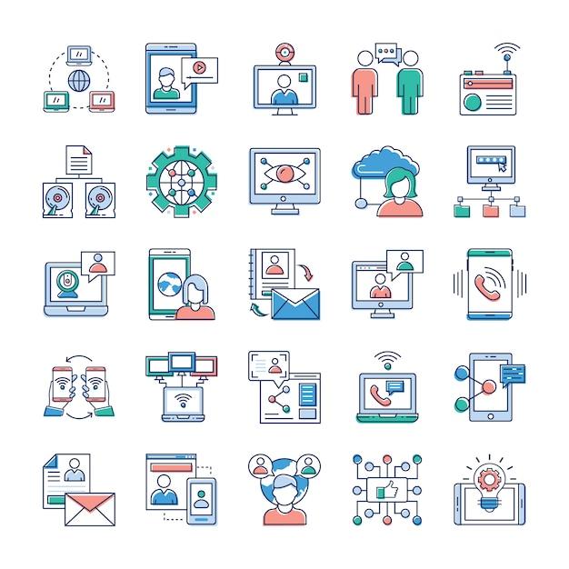 Op deze dag, het draait allemaal om snelle en snelle communicatie, we hopen dat u deze reclame- en communicatie- en netwerkvector-verzameling erg waardevol vindt voor uw stapel pictogrammen. Premium Vector