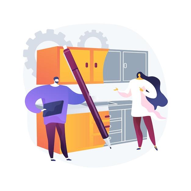 Op maat gemaakte keukens abstracte concept illustratie. op maat gemaakt ontwerp en installatie van keukenmeubilair, handgemaakte kasten, backsplash-tegels, ontwerpidee, modulair formaat Gratis Vector