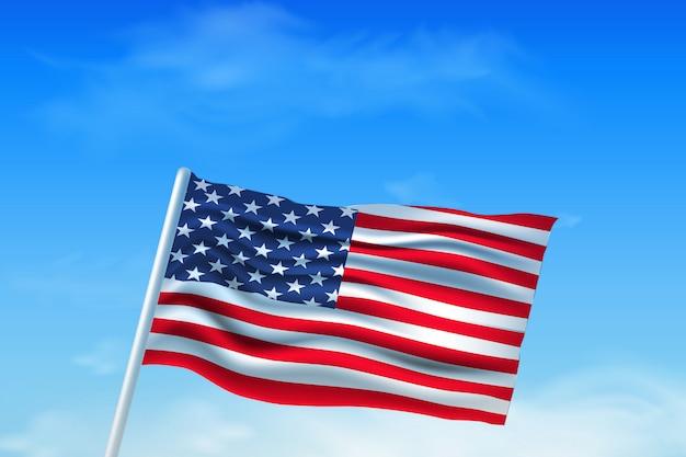 Op onafhankelijkheidsdag. amerikaanse vlag tegen de hemel. sjabloon achtergrond met hand getrokken ster in nationale kleuren, amerikaanse vlag voor wenskaarten, posters, banners, folders, brochures. Premium Vector