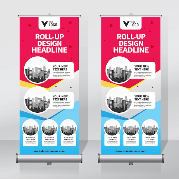 Op roll spandoek Premium Vector