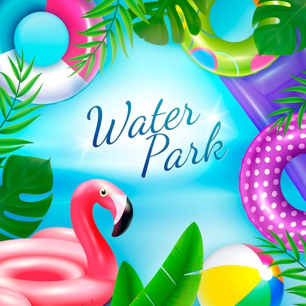 Opblaasbaar rubber speelgoed zwemmen ringen achtergrond met sierlijke tekst omgeven door tropische bladeren en binnenringen Gratis Vector