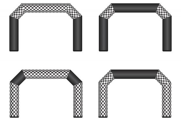 Opblaasbare afwerking lijn illustratie geïsoleerd op wit Premium Vector