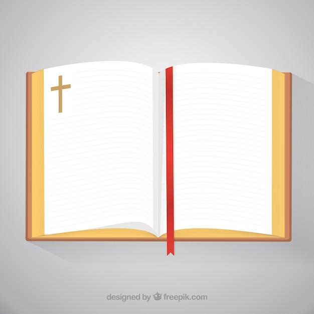 Open bijbel top view Gratis Vector