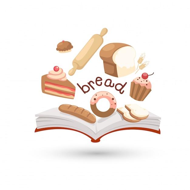 Open boek en iconen van brood Premium Vector
