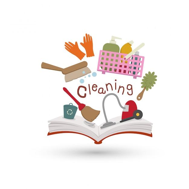 Open boek en iconen van schoonmaken. concept van het onderwijs Premium Vector