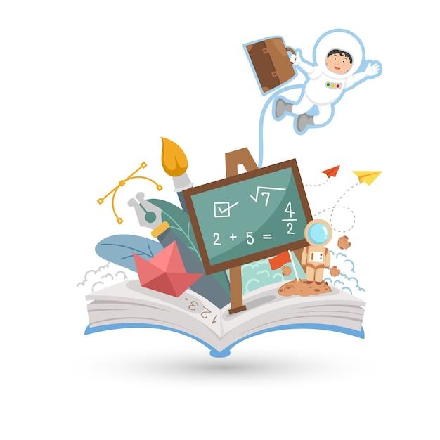 Open boek en onderwijs geïsoleerd op een witte achtergrond. Premium Vector