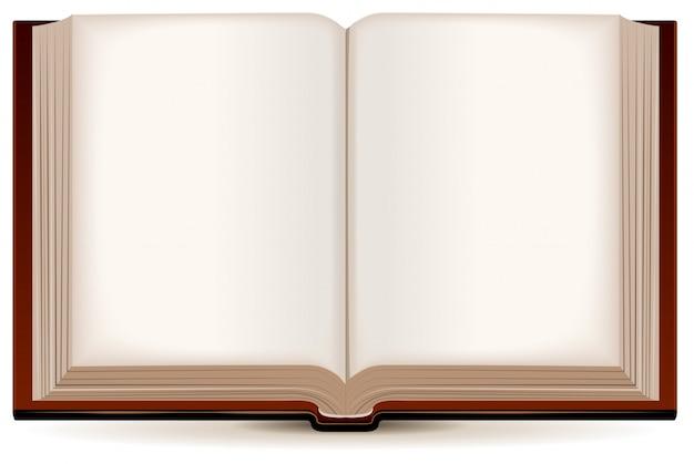 Open boek in een bruine kaft Premium Vector