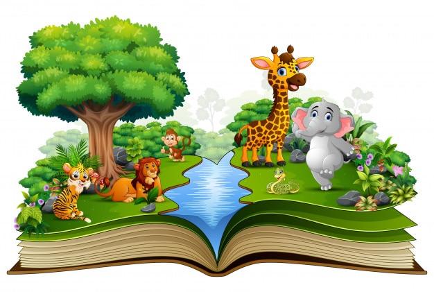 Open boek met de dierlijke cartoon die in de rivier speelt Premium Vector