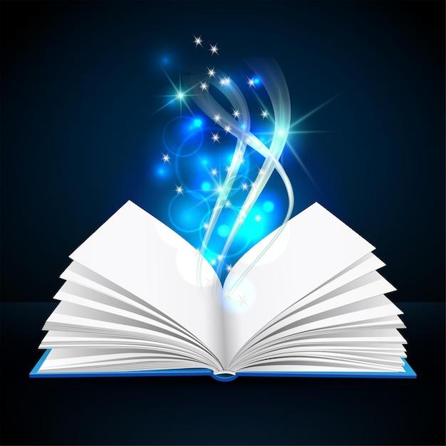 Open boek met mystiek helder licht op donkere achtergrond. magische poster illustratie Premium Vector