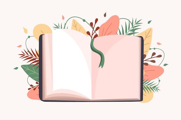 Open boek. onderwijs en lezen concept. Premium Vector