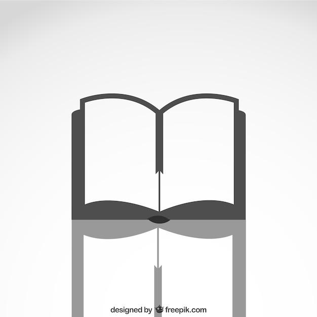 Open boek pictogram met reflectie Gratis Vector