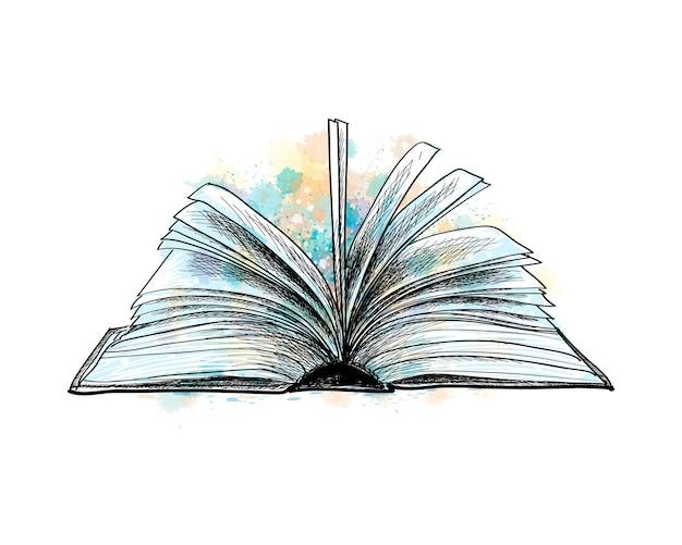 Open boek van een scheutje aquarel, handgetekende schets. illustratie van verven Premium Vector