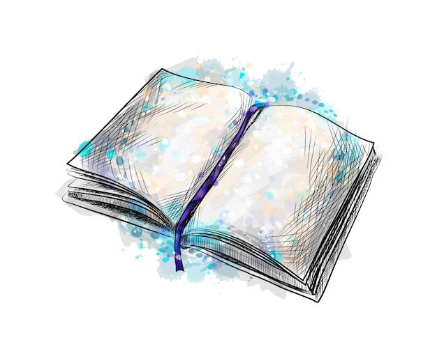 Open boek van een scheutje aquarel, handgetekende schets. vector illustratie van verven Premium Vector