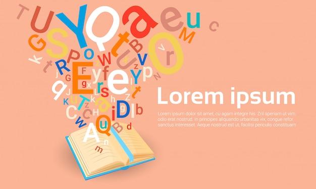 Open boekenbibliotheek lezen school onderwijs kennis concept Premium Vector