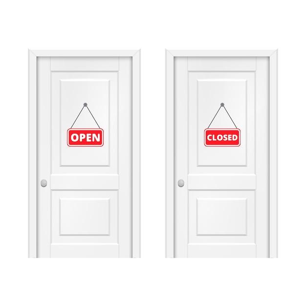 Open en gesloten bord op de deur. Premium Vector
