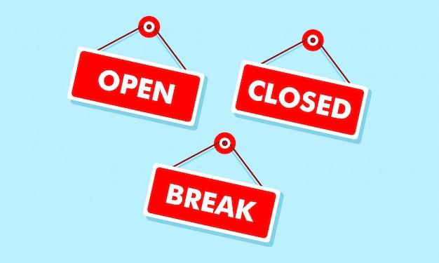 Open en gesloten borden aan boord van hangende illustratie Premium Vector