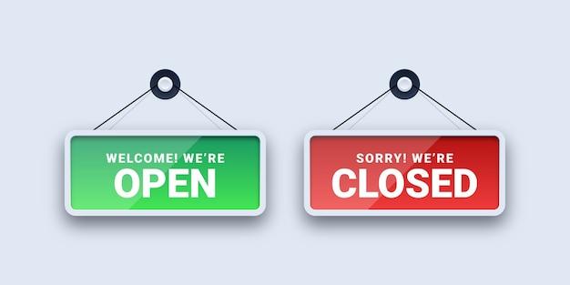 Open en gesloten borden Premium Vector