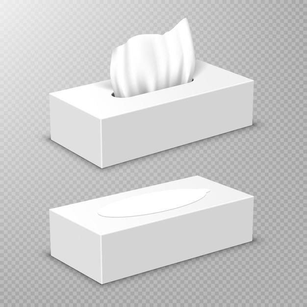 Open en gesloten doos met witte papieren servetten Gratis Vector