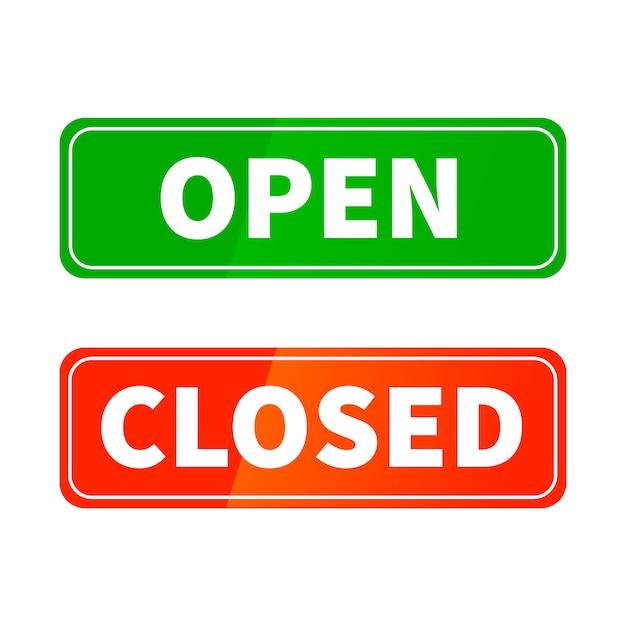 Open en gesloten heldere glanzende tekens voor winkeldeur geïsoleerd op wit Premium Vector