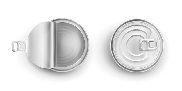 Open en gesloten metalen blikjes Gratis Vector