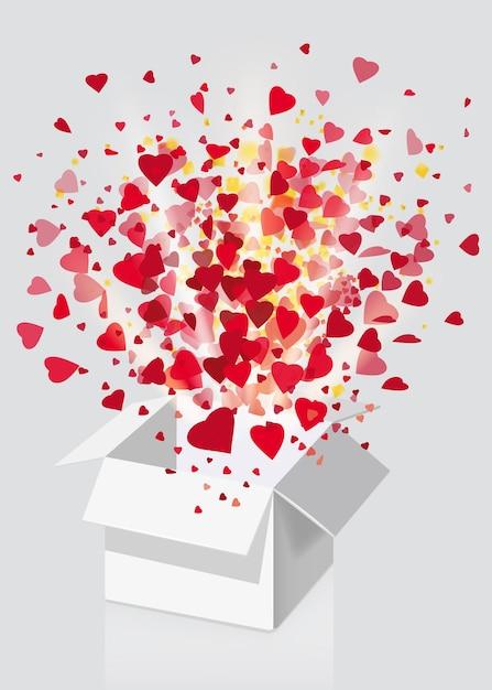 Open explosie witte geschenkdoos vliegen harten en confetti happy valentine's day Premium Vector