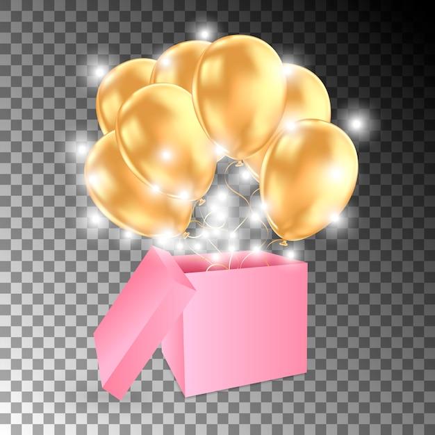 Open geschenkdoos met gouden ballonnen en lichten Premium Vector