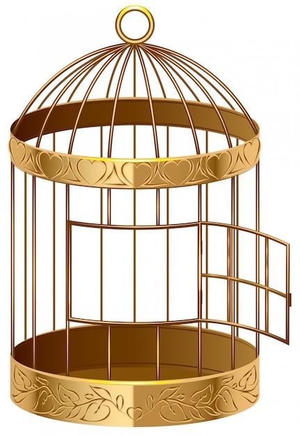 Open gouden vogelkooi een lege vogelkooi Premium Vector