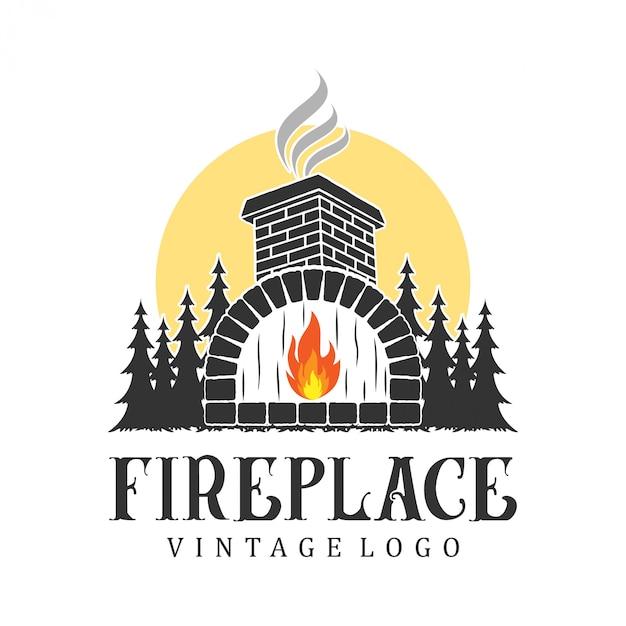 Open haard logo vintage, voor onroerend goed en service Premium Vector