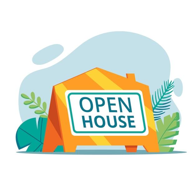 Open huis teken concept Gratis Vector