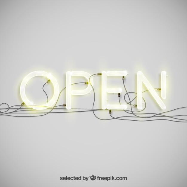 Open in neon typografie Gratis Vector