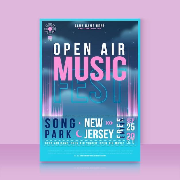 Open lucht muziekfestival poster sjabloon Gratis Vector