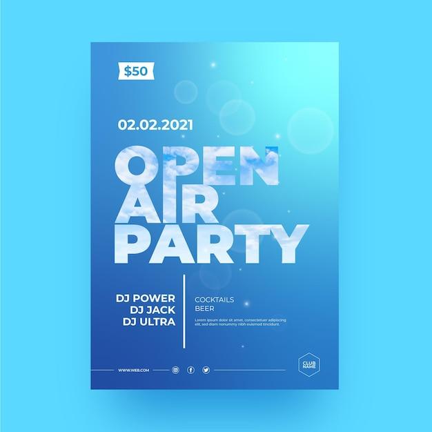 Open lucht partij poster sjabloon Gratis Vector