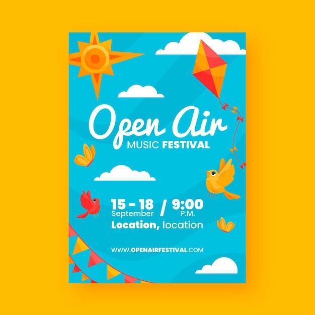 Open lucht partij poster thema Gratis Vector